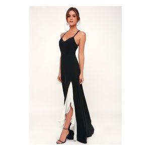 Lulu's side slit ruffles dress prom black white XS